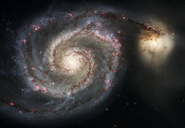 Photograph - The Whirlpool Galaxy M51 And Companion by Adam Romanowicz