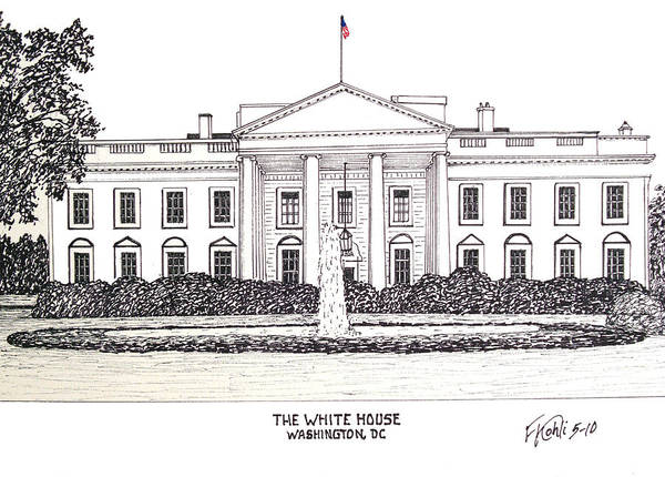 Ink Pen Drawing - The White House by Frederic Kohli