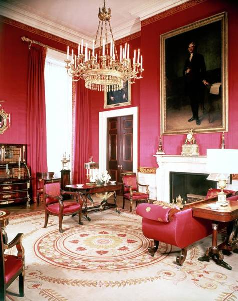 Mid Century Furniture Photograph - The White House Red Room by Tom Leonard