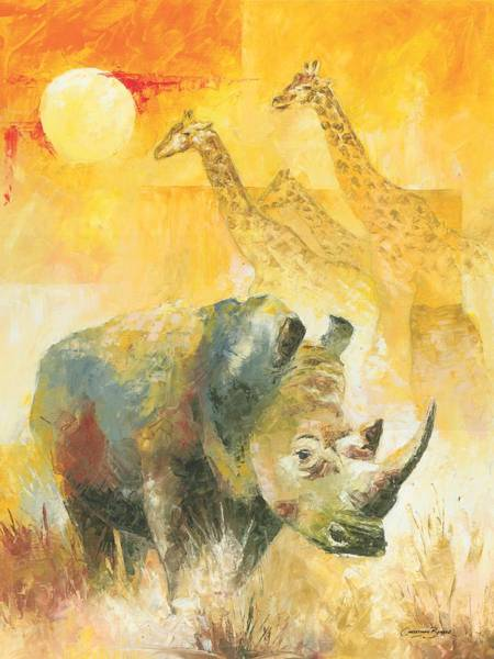 Big Five Painting - The White Rhino by Christiaan Bekker