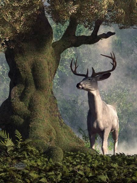 Arthurian Legend Digital Art - The White Stag by Daniel Eskridge