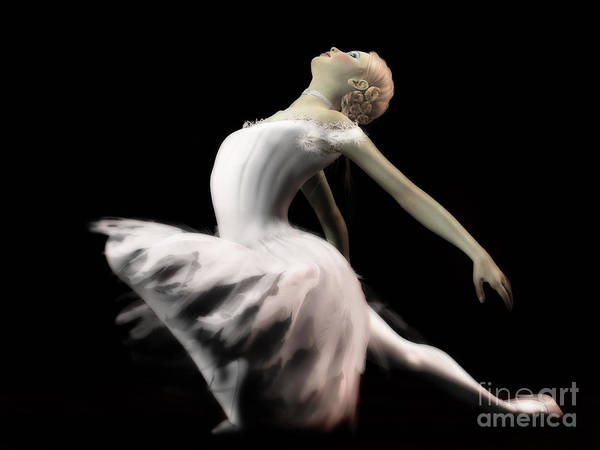 Digital Art - The White Swan - Ballerina by Elle Arden Walby