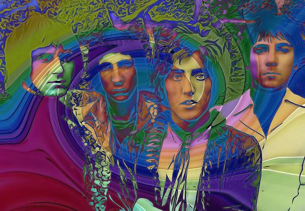 Bassist Wall Art - Digital Art - The Who Color Warp by Dan Sproul