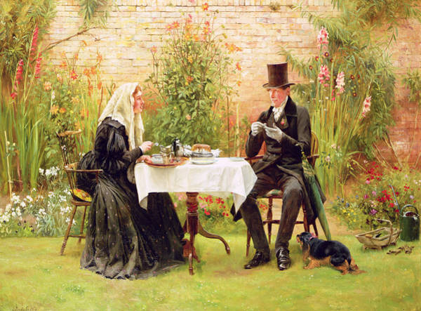 Watering Can Painting - The Widow At Home by Walter Dendy Sadler