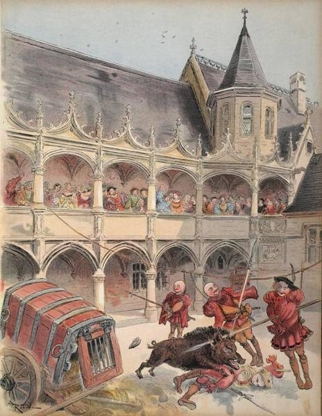 Cart Drawing - The Wild Boar Of Amboise, Illustration by Albert Robida