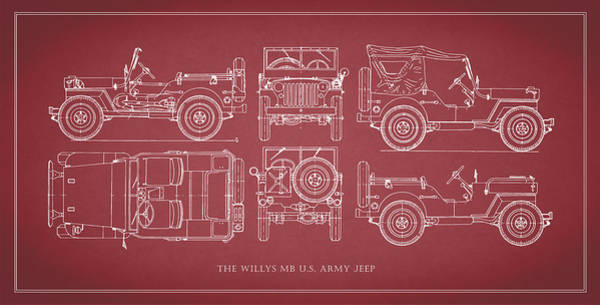 Jeep Wall Art - Photograph - The Willys Jeep - Red by Mark Rogan