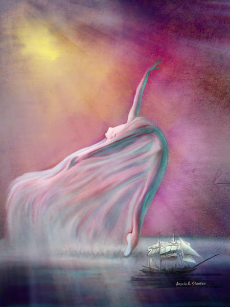 Wall Art - Painting - The Wind Fairy by Angela Stanton