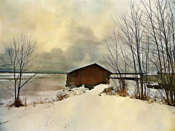Frozen Lake Digital Art - The Winter Boathouse by Dianne  Lacourciere