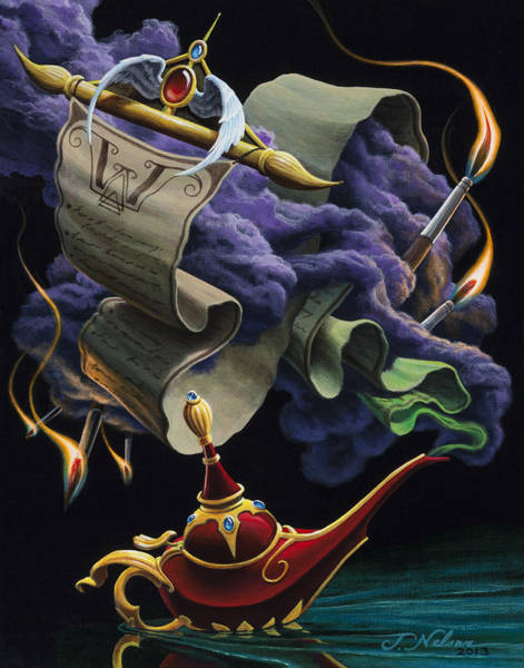 Genie Painting - The Wish List by Josh Nelson