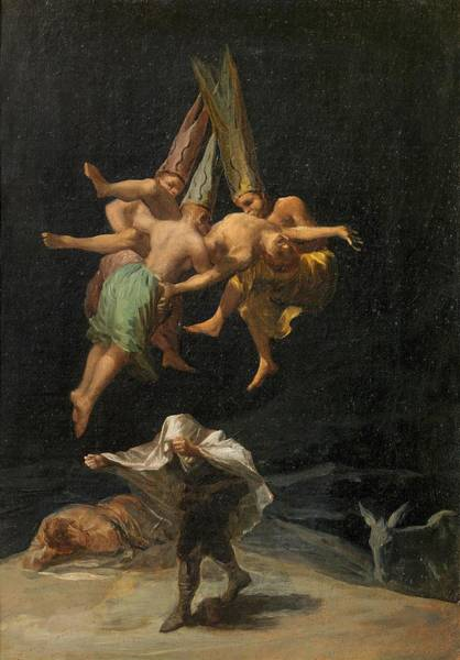 Wall Art - Painting - The Witches' Flight by Francisco Goya