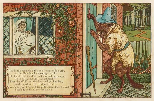Wall Art - Drawing - The Wolf Knocks On The Door  While by Mary Evans Picture Library