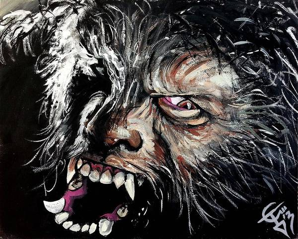 Toro Wall Art - Painting - The Wolfman by Tom Carlton