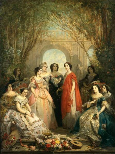 Wall Art - Photograph - The Women Of The Comedie Francaise In Their Costumes, 1855 Oil On Canvas by Faustin Besson