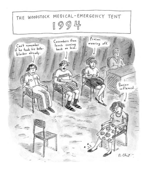 Concerts Drawing - The Woodstock Medical-emergency Tent 1994 by Roz Chast