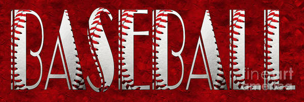 Photograph - The Word Is Baseball On Red by Andee Design