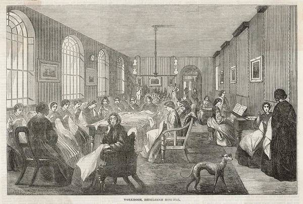 Wall Art - Drawing - The Workroom, Bethlehem  Hospital; by Mary Evans Picture Library