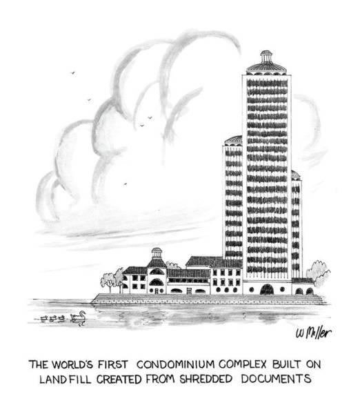 Row Drawing - The World's First Condiminium Complex Built by Warren Miller