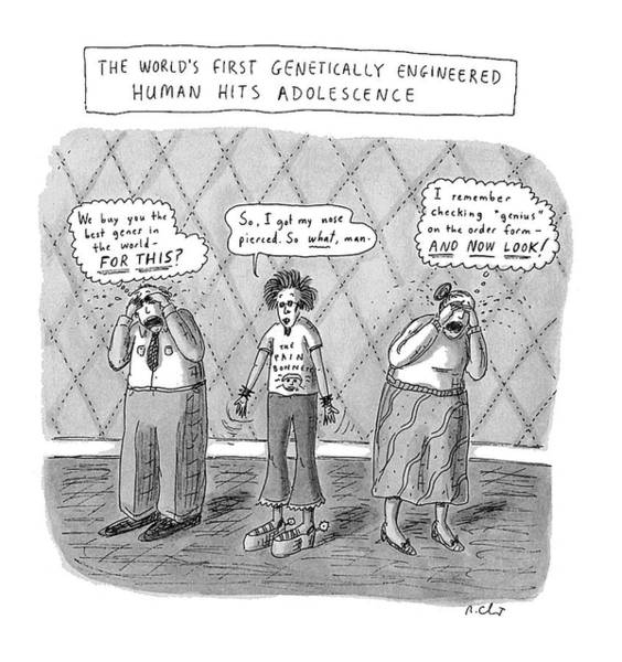 Dna Drawing - The World's First Genetically Engineered Human by Roz Chast