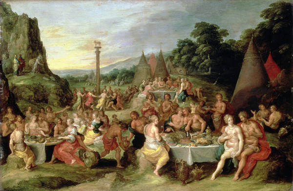 Feast Painting - The Worship Of The Golden Calf by Frans II the Younger Francken