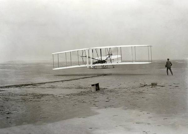 Vehicles Wall Art - Photograph - The Wright Brothers' First Powered by Science Photo Library