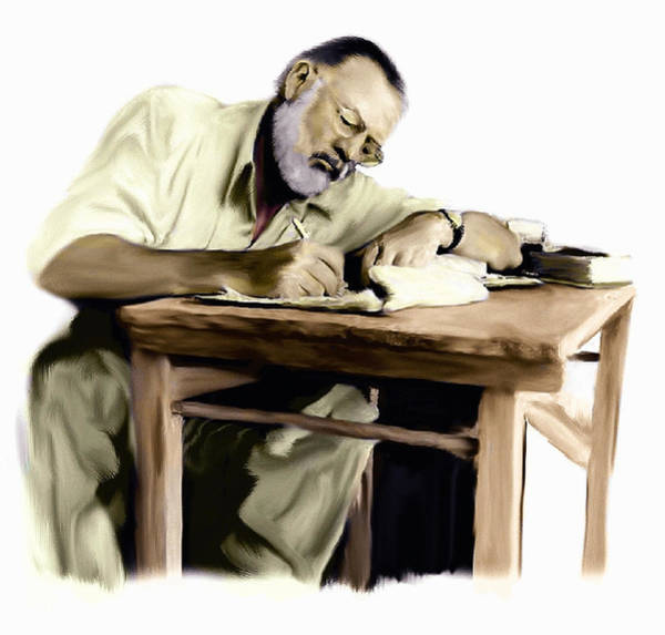 Wall Art - Painting - The Writer  Ernest Hemingway by Iconic Images Art Gallery David Pucciarelli