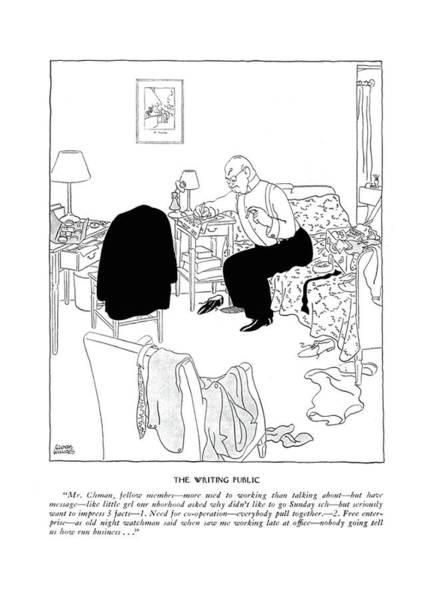November 11th Drawing - The Writing Public Mr. Chman by Gluyas Williams