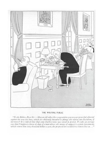 Time Is Money Drawing - The Writing Public To The Editor by Gluyas Williams