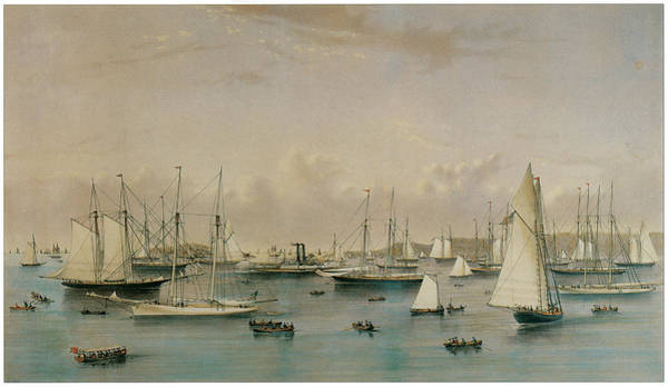 Currier And Ives Painting - The Yacht Squadron At Newport by Nathaniel Currier and James Merritt Ives