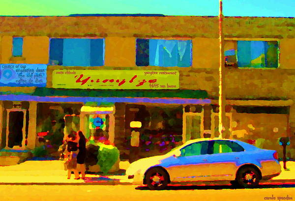 Painting - The Yangtze Chinese Food Restaurant On Van Horne Montreal Memories Cafe Street Scene Carole Spandau  by Carole Spandau