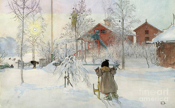 Sledge Wall Art - Painting - The Yard And Wash House by Carl Larsson