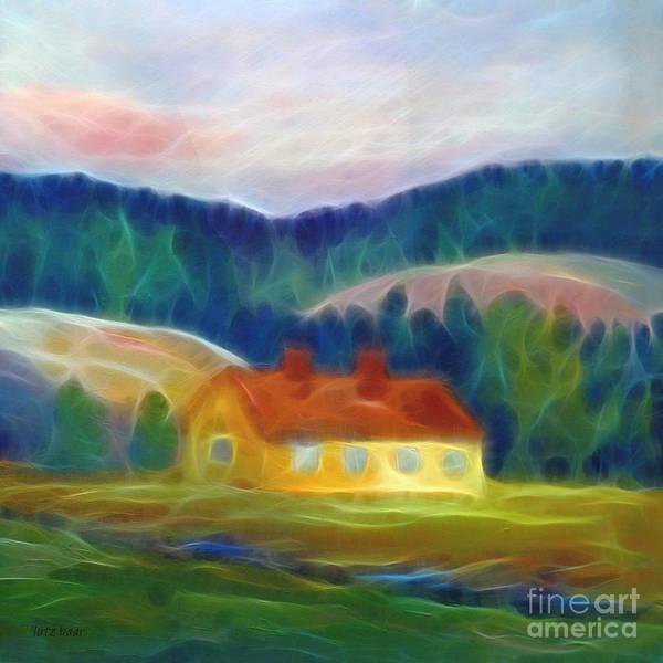 Digital Art - The Yellow Cottage by Lutz Baar