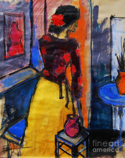 Wall Art - Painting - The Yellow Skirt - Pia #9 - Figure Series by Mona Edulesco