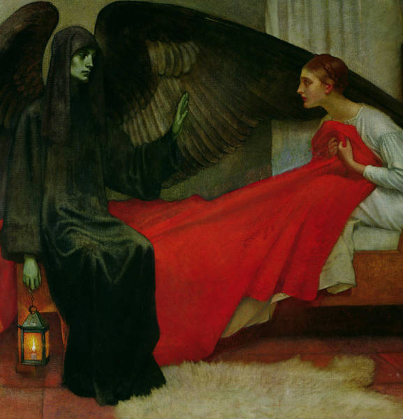 Scared Painting - The Young Girl And Death by Marianne Stokes