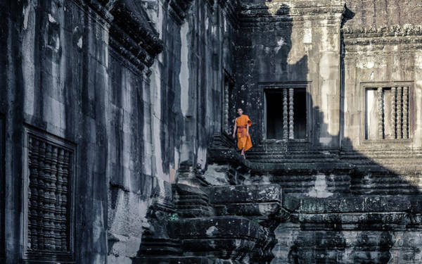Reap Photograph - The Young Monk by Gloria Salgado Gispert