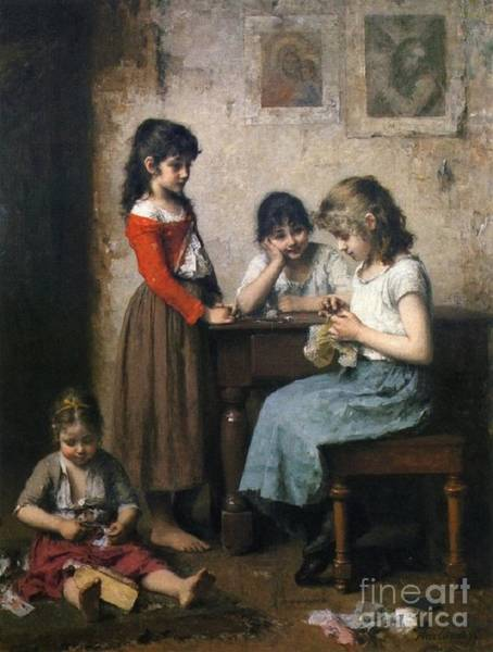 Painting - The Young Seamstress by Celestial Images