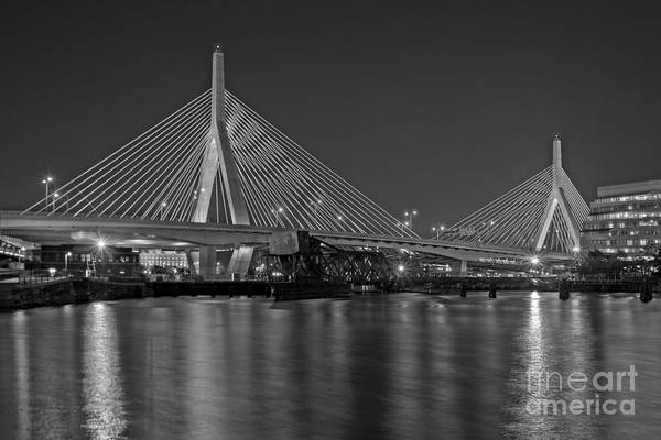 Photograph - The Zakim Bridge Bw by Susan Candelario