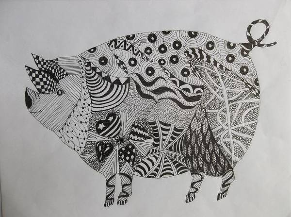 Drawing - The Zen Pig by Audrey Bunchkowski