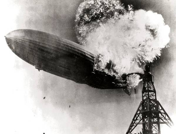 Lakehurst Photograph - The Zeppelin - Hindenburg Catching Fire by Celestial Images