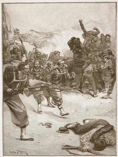 Soldier Drawing - The Zouaves Took One Of The Barricades by Ernest Prater