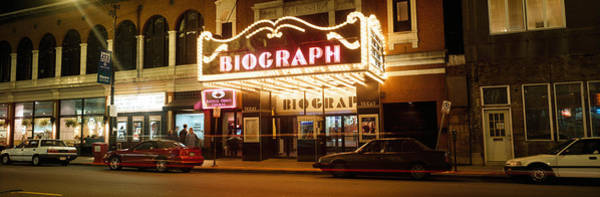 Chicago And North Western Photograph - Theater Lit Up At Night, Biograph by Panoramic Images