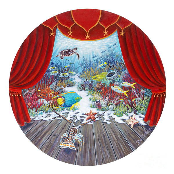 Sponge Painting - Theater Of The Sea by Danielle  Perry