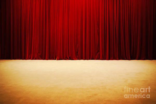 Public Speaker Photograph - Theater Stage Curtains by Luis Alvarenga