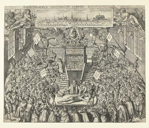 Allegorical Figure Drawing - Theatrum Anatomicum Van Leidse Academie by Jacob Marcus