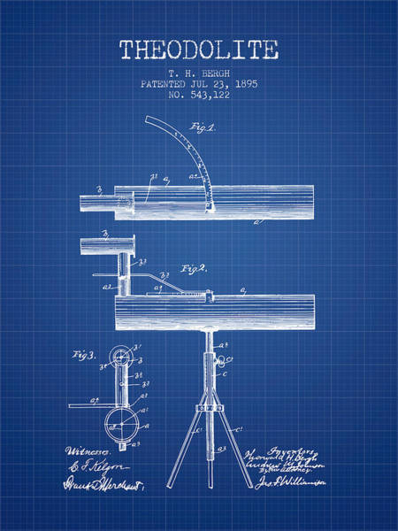 Wall Art - Digital Art - Theodolite Patent From 1895 - Blueprint by Aged Pixel