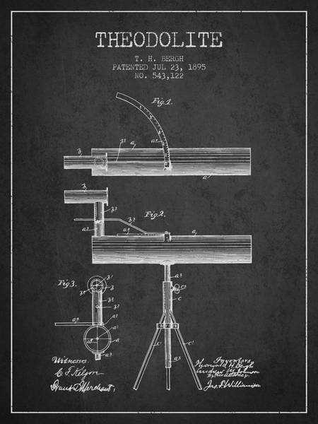 Wall Art - Digital Art - Theodolite Patent From 1895 - Charcoal by Aged Pixel