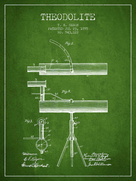 Wall Art - Digital Art - Theodolite Patent From 1895 - Green by Aged Pixel