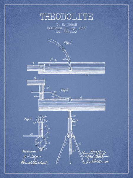 Wall Art - Digital Art - Theodolite Patent From 1895 - Light Blue by Aged Pixel