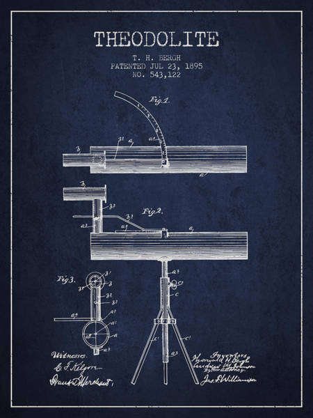 Wall Art - Digital Art - Theodolite Patent From 1895 - Navy Blue by Aged Pixel