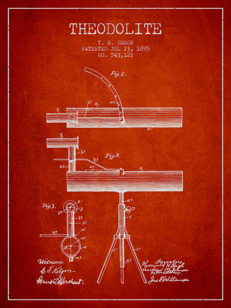 Wall Art - Digital Art - Theodolite Patent From 1895 - Red by Aged Pixel