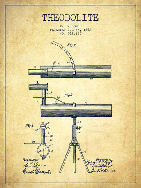 Wall Art - Digital Art - Theodolite Patent From 1895 - Vintage by Aged Pixel